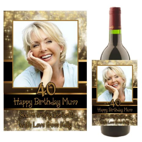 Personalised Black & Gold Glitz Happy Birthday Wine / Champagne Bottle PHOTO Label N21